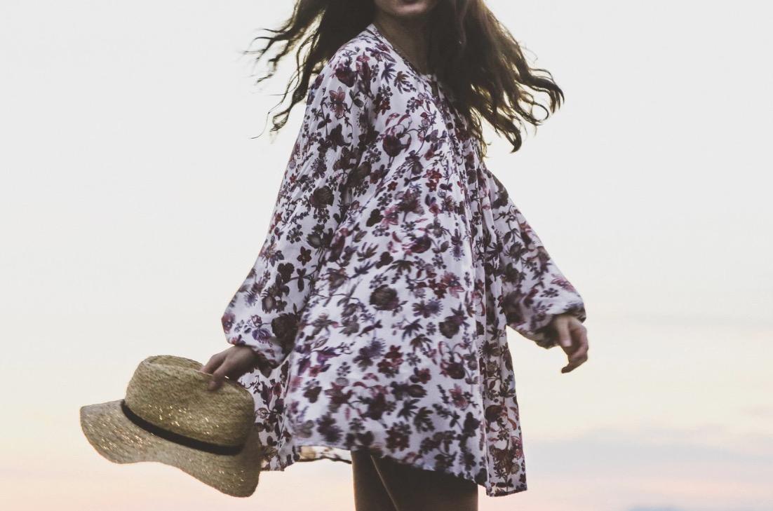 ワンピース 花柄 レディース ファッション 春服 麦わら帽子